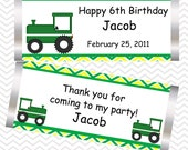 Tractor Green  - Personalized Candy Bar Wrapper