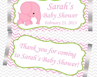 Pink Elephant  - Personalized Candy Bar Wrapper