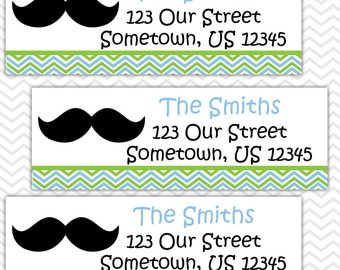 Mustache Bash - Personalized Address labels, Stickers, Baby Shower, Birthday