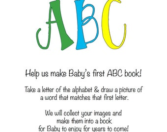 INSTANT DOWNLOAD: Baby Shower Activity -- ABC book