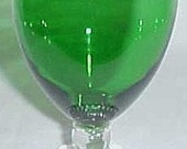 Anchor Hocking Fire King Forest Green BUBBLE 5 1/2 Inch High Water Goblet
