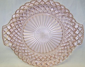 Hocking Depression Glass Pink WATERFORD WAFFLE 10 Inch Handled Cake Plate