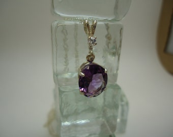 Oval and Round Cut Amethyst and Sapphire Necklace in Sterling Silver