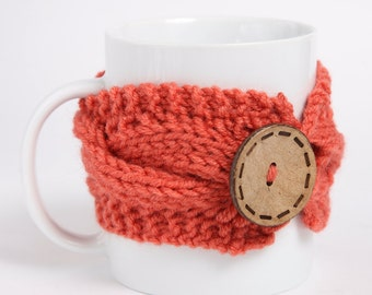 Cozy Coffee cup, Knitted mug cozy, tea cup cozy,  coffee sleeve, coral, warmer