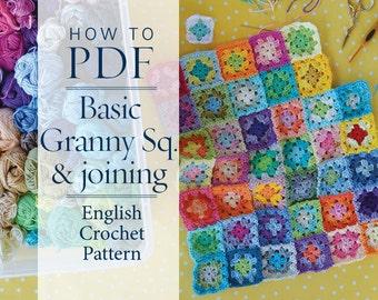 Crochet Pattern Basic Granny Square & Joining pattern - ready for immediate download - by CrochetObjet