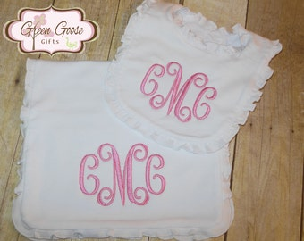Monogrammed Bib & Burp Cloth Set - Mongrammed Bib  - Personalized Bib - You Choose Color Thread