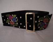 RESERVED ZIKE ..KENZO designer black suede waist belt embroidery flowers polka dots excellent vintage