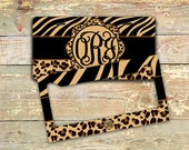 Animal print Monogram license plate, frame, Car tag, Bicycle license plate, Bike accessory for girls Cute car accessories Black brown (1282)