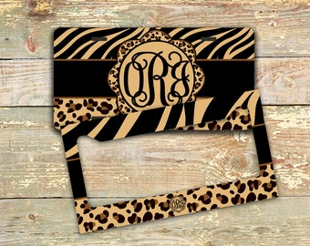 Animal print license plate or frame with monogram, Car tag with Tiger print, Personalized license plate frame, Bike accessory girls (1282)