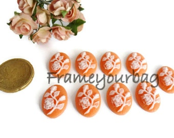 18 pcs resin cameo flowers Pink and white 18x13mm CB 01