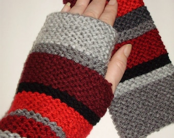 Season 12-16/17 Doctor Who Hand Knit Fingerless Gloves Inspired by Doctor Who Scarf in Red, Black & Shades of Grey/Gray from Ashlee's Knits