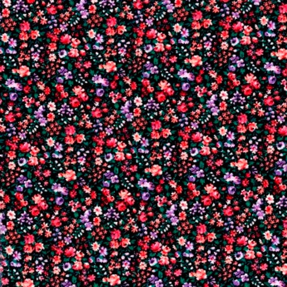 Items Similar To Rose Print Fabric Black Background Pink