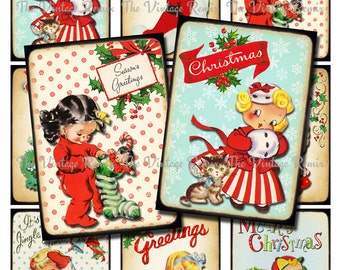 Christmas INSTANT DOWNLOAD, Printable Digital Collage Sheet, Retro Vintage Kid Images for labels, tags, scrapbooking, atc aceo