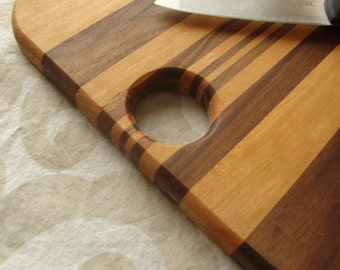Small cheese board or serving platter, Cherry wood, Walnut wood