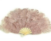 "Burlesque 21""x 38"" Beige Wood Marabou & Ostrich Feathers Hand Fan With Bamboo Staves"