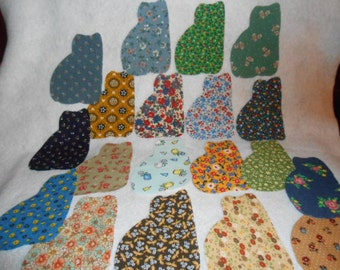 Cats  Appliques Cut From Vintage Fabric- 20 Total