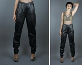 RESERVED for Izzie vtg Genuine Black Leather Pants / Straight Leg / Fall Fashion / Winter / GRUNGE / Goth / Retro / 80s / 90s / Medium / RAR