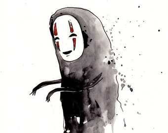 No Face Original Painting 8x10 inches, Spirited Away inspired. Hayao Miyazaki