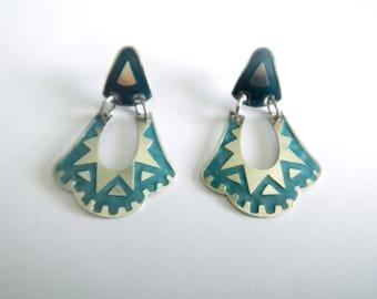 SALE Vintage Southwest Large Sterling Silver & Inlay Enamel Earrings