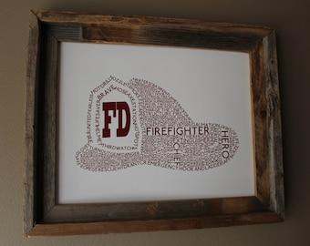 Firefighter Helmet Word Art - Unframed