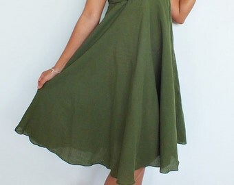 25% SALE Beautiful  Green  Maxi Dress Cotton(Free Shipping)