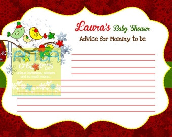 Christmas Birds Baby Shower Advice Card for New Mom  - Holidays Birds Baby Shower Advice Card for mom - Red and Green Christmas Birds Advice