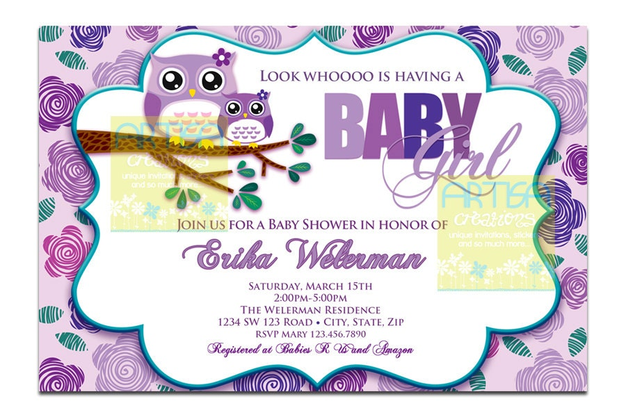 purple owl baby shower invitation owl baby by artisacreations