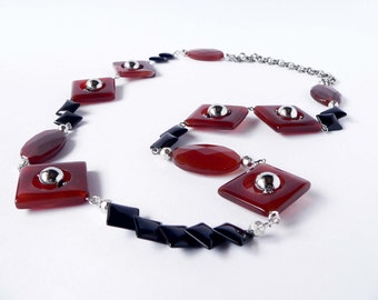 Statement brown and black necklace handmade with semiprecious carnelian and agate stones. ooak made in Italy.