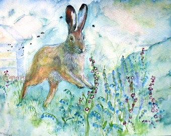 Hare and Bluebells Beautiful Giclee Print of  Watercolour and Ink Painting on Watercolour Paper
