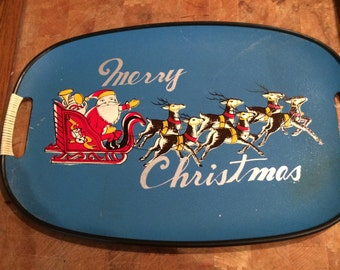 Vintage Merry Christmas Tray Santa Reindeer