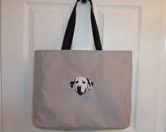 Dalmation embroidered tote bag