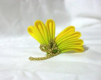 Yellow ginkgo leaf - kanzashi hair pin