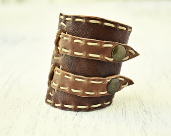 Sale 25% Off !Handmade Tobacco Leather Cuff  Stitching DOUBLE SIDED