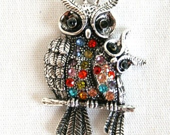 Beautiful Antique Silver Mama and Baby Owl on Branch With Colorful Rhinestones