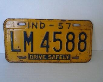 Vintage License Plate - INDIANA - 1957