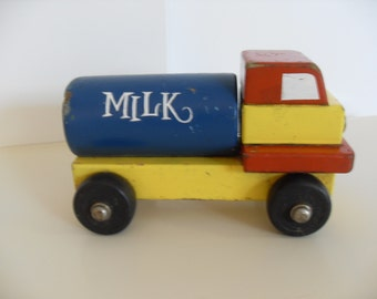 Vintage Wooden Toy Milk Truck