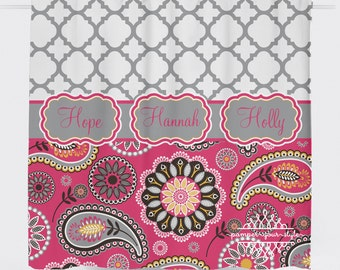 Custom Designed Quatrefoil and Paisley-Grey, Pink, Yellow Shower Curtain, Boys and Girls Bathroom, Personalized, Create and Design Your Own