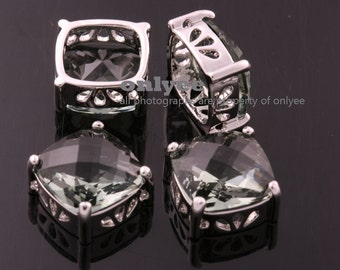 2pcs-10mmX10mmX6.5mmRhodium plated Brass Framed Faceted Square Glass Connectors,Pendants-Charcoal(M348S-C)