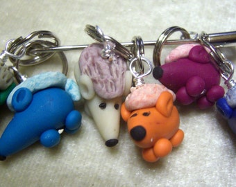 Stitch Markers Hedgehog inspired  for Knit or Crochet set of 6 Hedge hog Hedgie