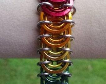 Vertebrae Bracelet Rainbow LGBT Pride anodized aluminum Chain Maille chainmail renaissance Faire