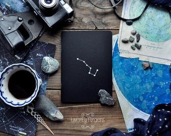 "Black notebook-sketchbook  with a carved pattern - constellation ""Ursa Major"""