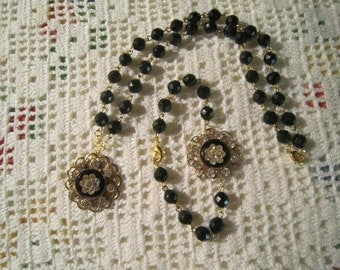 Vintage Necklace and bracelet set...vintage black beads and rhinestone upcycle brooches
