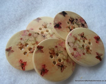 30mm Wood Button Pink Butterfly Print Pack of 5 Cream Buttons W3034