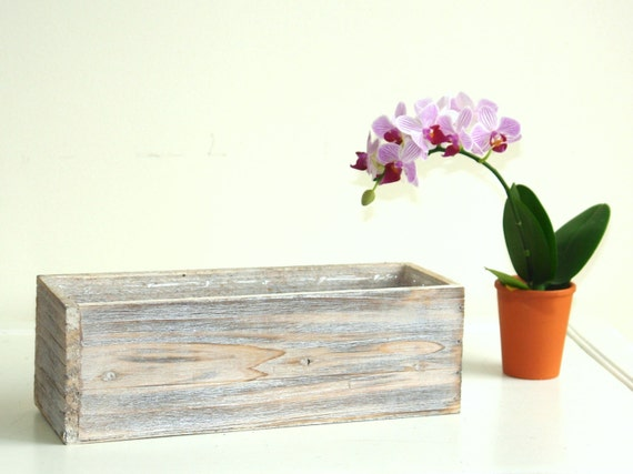 Items similar to wood boxes woodland containers planters - Wooden containers for flowers ...