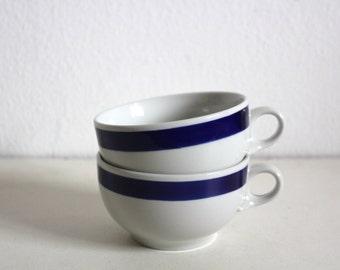 SALE 50 OFF Vintage Tea Cups Navy White Portuguese Pottery Coimbra Portugal Retro Minimalist Decor Spring Summer
