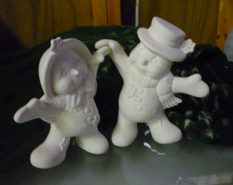Ready to Paint Ceramic Dancing Snow Couple