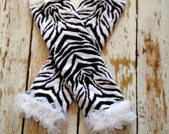 Zebra Print Leg Warmers with White Chiffon Ruffle Bottom