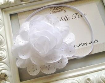 White Eyelet Lace Headband, Shabby Chic, Vintage Flower Headband, Baby Girl Headbands, Newborn Headband, Infant Headband, Photo Prop