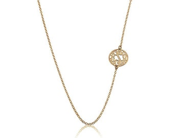 Monogram necklace - Tiny Sideways Monogram Necklace 0.6 Inch - Gold Personalized Necklace