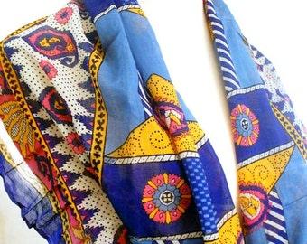 Blue Paisley Scarf, Long Cotton Scarves, Hippie Gypsy Bohemian Indian Shawl, Pink Orange White Vintage Saree Scarf